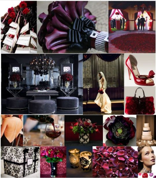 Black And White Wedding Theme With Red And Purple Accents