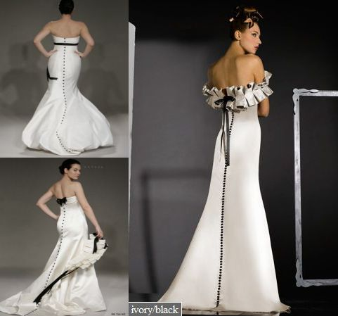 black and white wedding dresses by romona keveza and bari jay