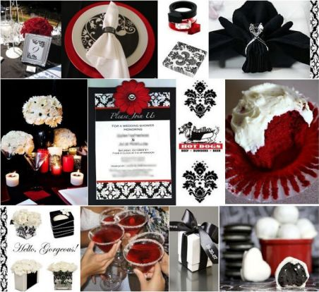 Black, White and Red Wedding Theme Ideas
