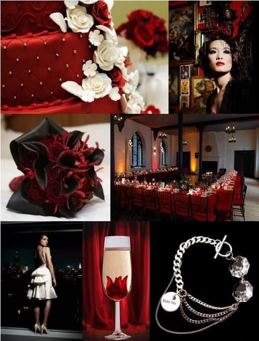 red black and white old hollywood wedding inspiration board created by itsajaimethingdotcom