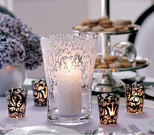 Black white centerpiece ideas