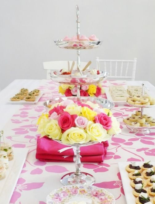 pink yellow and white tablescape via wedding style guide blog