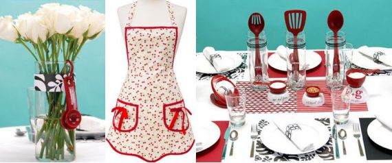 retro modern tablescape idea via hostesswiththemostessdotcom apron by themerrymartinidotcom