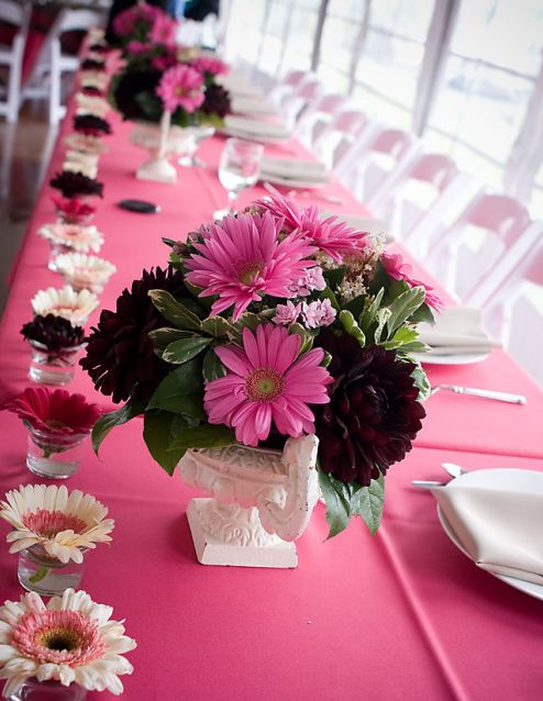 One stop wedding pink table centerpieces